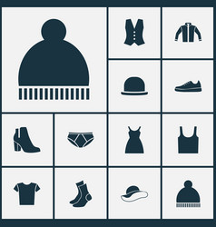 Garment icons set collection dress sneakers vector