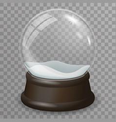 glass ball highlight snow wooden stand 3d vector image