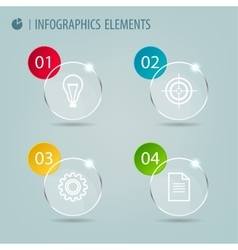 Glass infographic elements with icons vector image