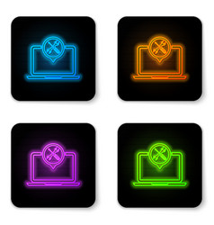 glowing neon laptop with screwdriver and wrench vector image