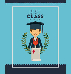 graduation card with man character vector image