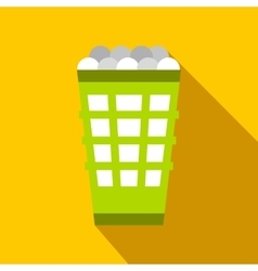 Green basket with golf balls flat icon vector