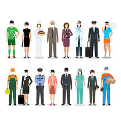 Group people with different occupation wearing vector