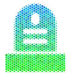 Halftone blue-green grave icon vector
