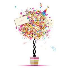 Happy holiday funny tree with balloons in pot vector image