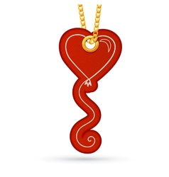 Heart shaped balloon Label tag hanging on golden vector