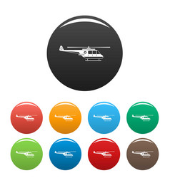 Helicopter icons set color vector
