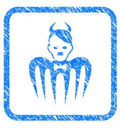 Hitler spectre devil framed grunge icon vector