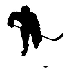 hockey player ready to attack silhouette vector image
