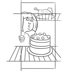 Hungry woman on diet drawing vector