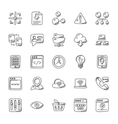 Internet doodle icons set vector