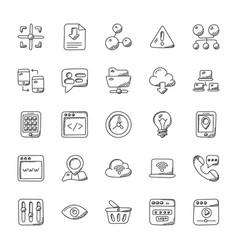 internet doodle icons set vector image