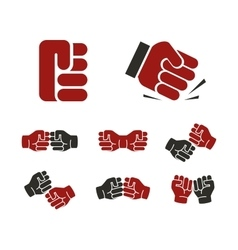 Isolated abstract red and black fists logo set vector