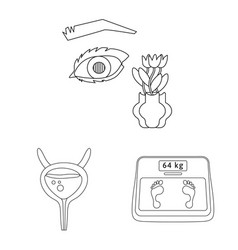 Isolated object mellitus and diabetes icon set vector
