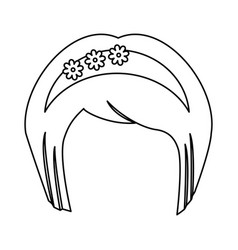 japanese hairstyle traditional vector image