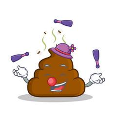 Juggling poop emoticon character cartoon vector