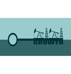 Key with growth word and mining equipment icons vector image