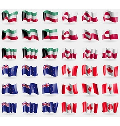 Kuwait Greenland New Zeland Canada Set of 36 flags vector
