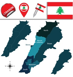 Lebanon map with named divisions vector