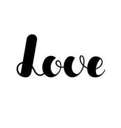 lettering love black color isolated on white vector image