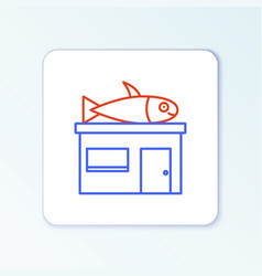 Line seafood store icon isolated on white vector