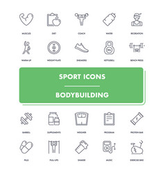 line sport icons set bodybuilding vector image