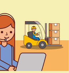 logistic woman operator and worker in forklift vector image