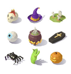 low poly halloween decorations vector image vector image