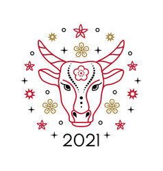 lunar new year 2021 vector image