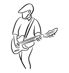 man with an electric guitar sketch vector image