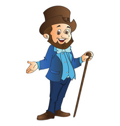 Man with top hat and cane vector