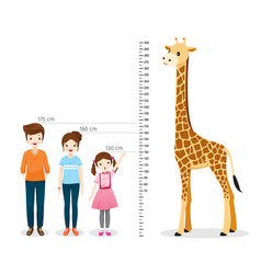 Man woman girl measuring height with giraffe vector