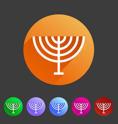 Menorah hanukkah icon flat web sign symbol logo vector