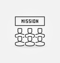 Mission and people linear icon or sign vector
