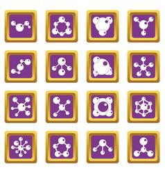 molecule icons set purple vector image