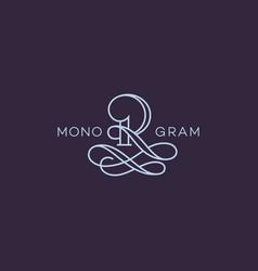 monogram r vector image