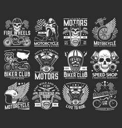 motorcycle races biker club skull emblems sport vector image