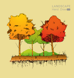 natural landscape in hand drawn style vector image