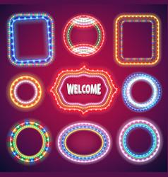 neon lights banners set vector image