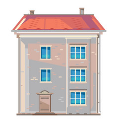 old fashioned european apartment building isolated vector image
