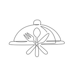 one continuous line drawing food tray cover vector image