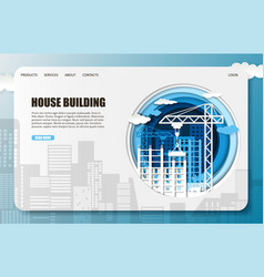 paper cut house construction company vector image