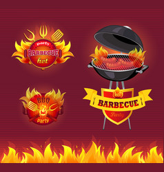 party barbecue hot bbq set vector image