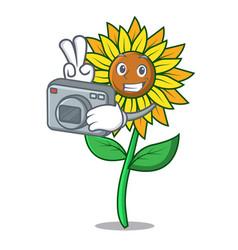 photographer sunflower mascot cartoon style vector image