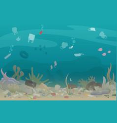Plastic pollution trash under sea vector