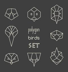Polygon birds set on grey background vector