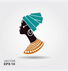 portrait beautiful african woman in traditional vector image