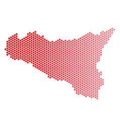 Red dotted sicilia map vector