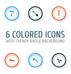 Repair icons set collection of digging shears vector