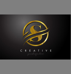 S golden letter logo design with circle swoosh vector